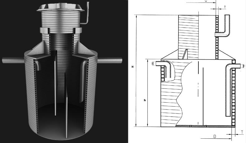 Вертикальный подземный промышленный жироуловитель